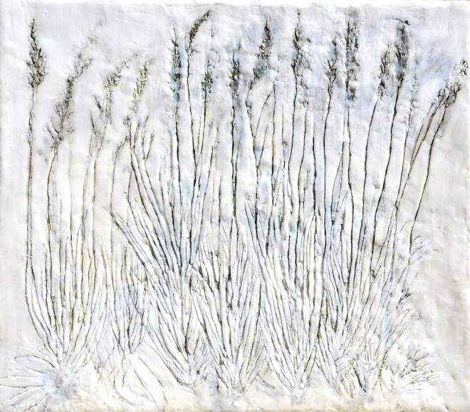 Über die Kunst Gras wachsen (zu) lassen 3, Paraffin und Öl auf Nessel, 35 x 40 cm, 2016