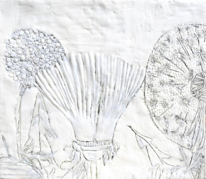 Über die Kunst Gras wachsen (zu) lassen 4, Paraffin und Öl auf Nessel, 35 x 40 cm, 2016