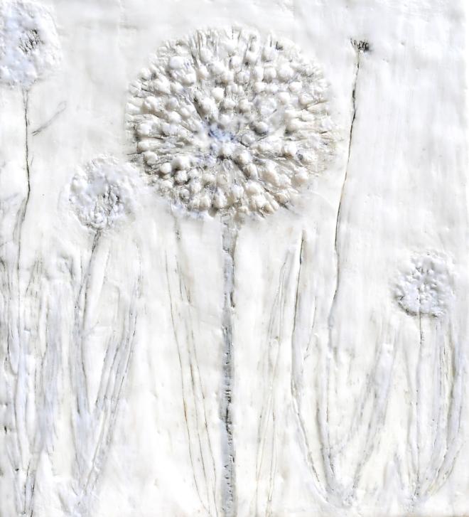 Über die Kunst Gras wachsen (zu) lassen 5, Paraffin und Öl auf Nessel, 40 x 35 cm, 2016