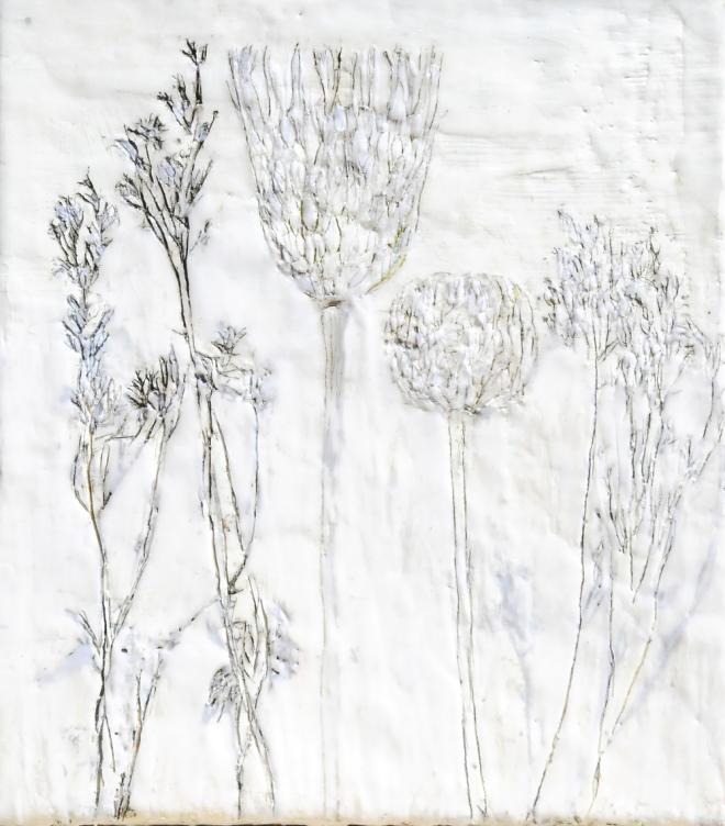 Über die Kunst Gras wachsen (zu) lassen 6, Paraffin und Öl auf Nessel, 40 x 35 cm, 2016