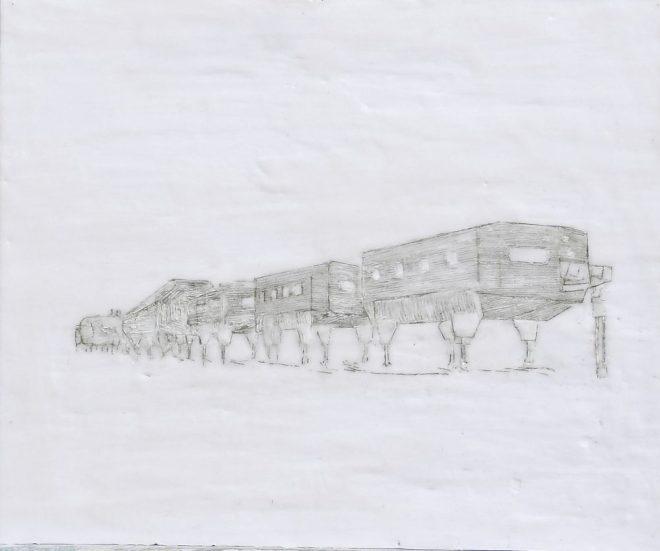 Forschungsstation 3, Paraffin und Öl auf MDF, 52 x 70 cm, 2016