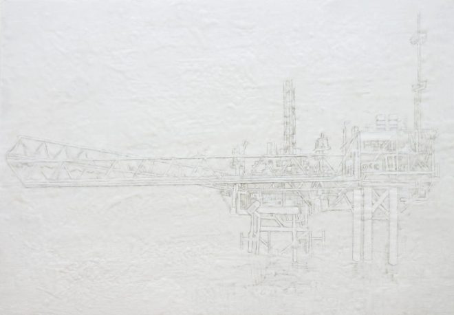 Forschungsstation 5, Paraffin und Öl auf MDF, 70 x 100 cm, 2016