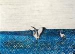 Havelland | Kraniche, Paraffin und Acryl auf Pappe, 100 x 140 cm