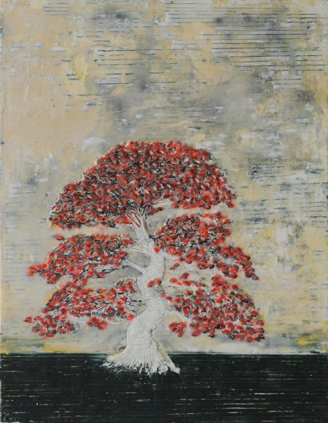 Bäume 1, Paraffin und Acryl auf Pappe, 40 x 30 cm